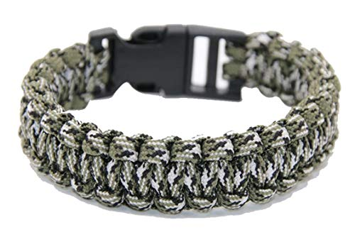 - Survival Paracord Bracelet Men Women Military Emergency Gear Parachute Rope Braided Cord Plastic Buckle Camping Hiking Kits Serpentine Camo