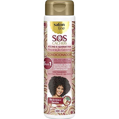 Linha Tratamento (SOS Cachos) Salon Line - Condicionador Ricino e Queratina - Reparacao Extrema 5 em 1 - 300 Ml - (SOS Curls - 5 in 1 Extreme Restoration Castor And Keratin Conditioner 10.14 Fl Oz)