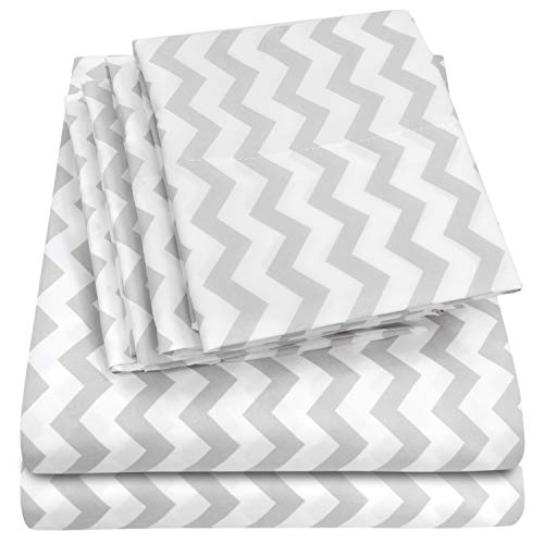Cal King Size Bed Sheets - 6 Piece 1500 Thread Count Fine Brushed Microfiber Deep Pocket California King Sheet Set Bedding - 2 Extra Pillow Cases, Great Value, California King, Chevron Gray (A In Bed Cotton Brushed Bag)