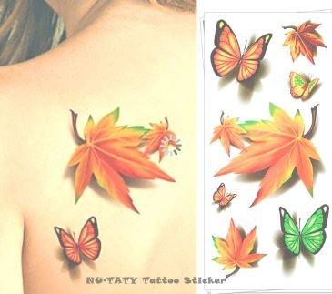 Maple Leaf Clover - Tatuaje temporal, diseño de trébol de arce ...