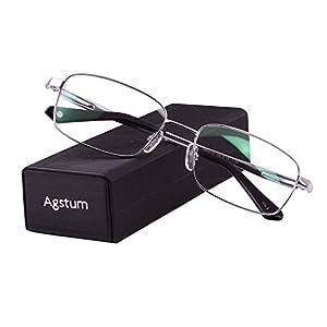 Agstum Titanium Full Rim Glasses Frame Optical Eyeglasses Rxable (Silver, 56)