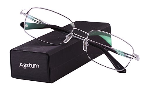 Agstum Titanium Full Rim Glasses Frame Optical Eyeglasses Rxable (Silver, - Frames Eyeglass Free Nickel