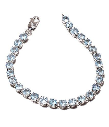 Be You plaqué superbe topaze bleue véritable pierres précieuses rhodium bracelet en argent sterling pour les femmes