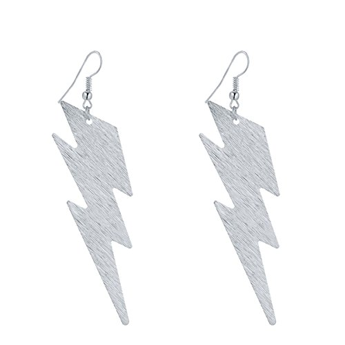 IDB Delicate Filigree Dangle Lightning Bolt Drop Hook Earrings - Available in Silver and Gold Tones (Silver Tone)