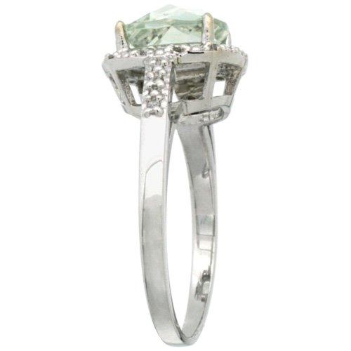 Revoni - Bague Femme - Argent Fin 925/1000 - Morganite forme Coussin 2.08 Cts - Diamant Rond brillant 0.07 Cts