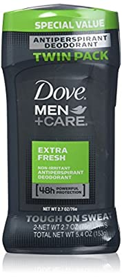Dove Men+Care Antiperspirant Deodorant Stick, Extra Fresh 2.7 oz, Twin Pack
