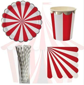 Taka Co Circus Party Decorations 61pcs Circus Theme Paper Disposable Tableware Red Striped Plates Cups Wedding Supplies Foild Bronzing Birthday Party Decorations -