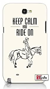 Horse Pony Equestrian Keep Calm And Ride On Unique Quality Hard Snap On Case for Samsung Galaxy Note 2 Note II N7100 (WHITE)