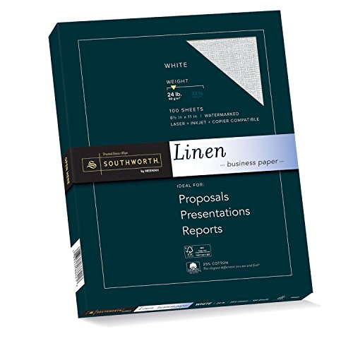 "Southworth 25% Cotton Business Paper, 8.5"" x 11"", 24 lb, Linen Finish, White, 100 Sheet (P554CK)"