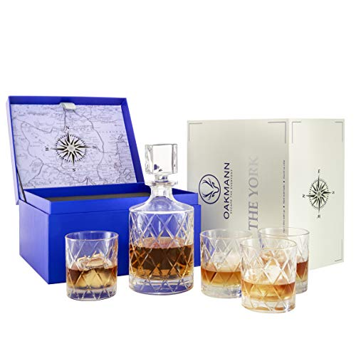 Premium Whiskey Decanter and Glass Set Hand Cut Large 32oz Lead Free Crystal Decanters 12oz Old Fashioned Glasses Gift Box for Scotch Whiskey Bourbon Rum Gin Mini Bar Alcohol Dispenser - The York Set