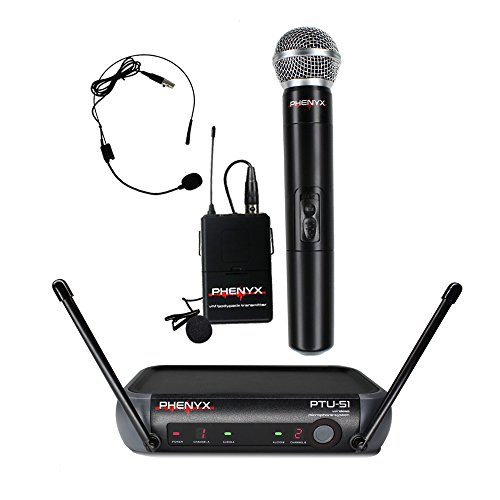 One Dj System (Phenyx Pro PTU-51 Entry-Level UHF Dual Wireless Microphone System-Portable Size-1 Handheld Mic 1 Headset 1 Lapel Mic 1 Bodypack-For DJ, Church, School, Presentation)