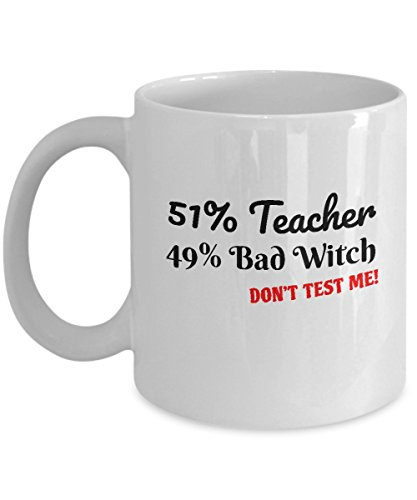 Funny Halloween Coffee Mug - 11oz White Ceramic Tea Cup. Fun Quote Sayings Witch Teacher Gift. Set of 1. -