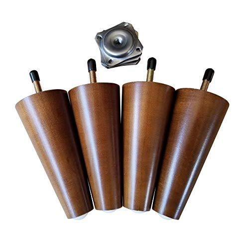 - Mid-Century Modern Sofa Legs/Feet. 5 inches. Wood. Hardware for 8mm Replacement Included