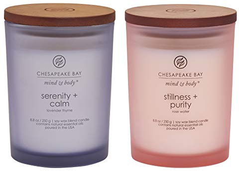 Chesapeake Bay Candle Scented Candles, Serenity + Calm (Lavender Thyme) & Stillness + Purity (Rose Water), Medium (2-Pack)