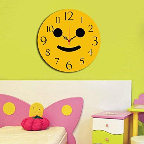 LaModaHome Mood MDF Real Running Clock - Yellow Smiley Face - Diameter (16