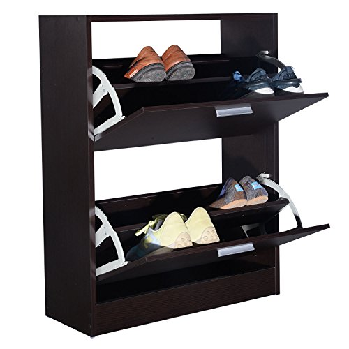 MasterPanel - Shoe Rack Storage Cabinet 2 Drawers Wood Furniture Entryway Dark Brown #TP3334 by MasterPanel