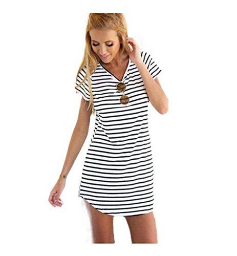 Women Crew Neck Short Sleeve Striped Loose T-Shirt Mini Dress
