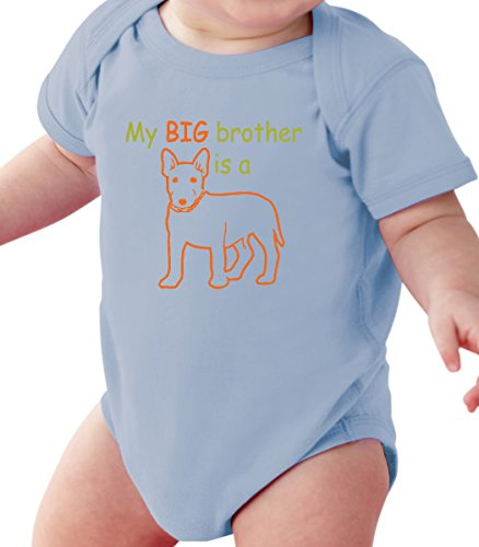 Fnb Fashion My Big Brother Is A Dog   Funny Animal Baby Romper Onesie Unisex Warpped And Protected With A Clear Poly Bag  6 12 Months  Light Blue