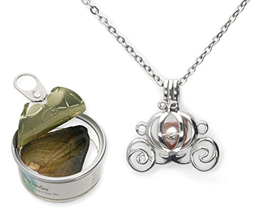 Pearlina Princess Carriage Cultured Pearl Oyster Necklace Set Silver-Tone Cage w/Stainless Steel Chain,18
