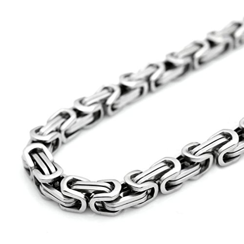 SANDRA Design 18-40''Mens Stainless Steel Heavy Wide 9Mm Silver Byzantine Box Chain Necklace by Sandra Fashion Mens Necklace