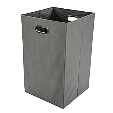 Modern Littles Folding Laundry Basket with Handles - High-Strength Polymer Construction - Folds for Easy Storage and Transportation - 13.75 Inches x 13.75 Inches x 22.75 Inches - Grey