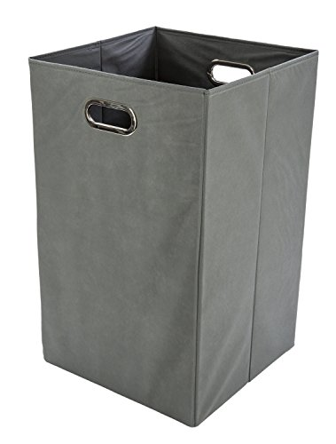 Modern Littles Folding Laundry Basket with Handles – High-Strength Polymer Construction – Folds for Easy Storage and Transportation – 13.75 Inches x 13.75 Inches x 22.75 Inches – Grey (Recycling Square)