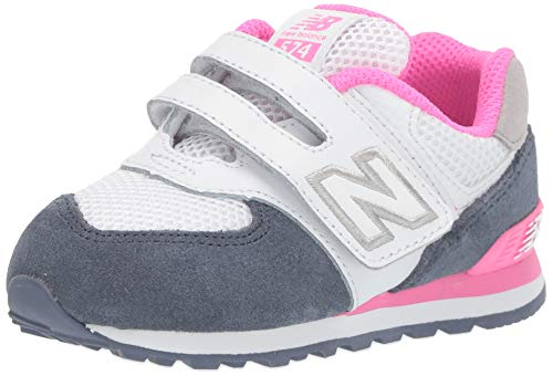 (New Balance Girls' Iconic 574 V1 Hook and Loop Running Shoe, Vintage Indigo/Peony, 8 W US Toddler)