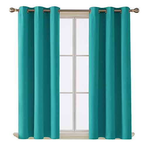 (Deconovo Room Darkening Thermal Insulated Blackout Grommet Window Curtain Panel for Living Room, Turquoise,42x63-Inch,1 Panel)