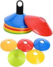 50 Pack Soccer Cones Disc Cone Sets with Holder for Training, Field Cone Markers Football, Kids, Sports,
