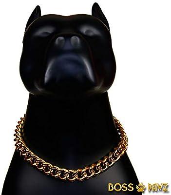 BOSS PAWZ Collar de Cadena de Oro de 18 K para Perro, Soldado de ...