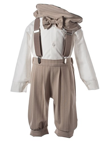 Boys Knicker Set with Suspenders and Hat - Vintage Tan Stripe -