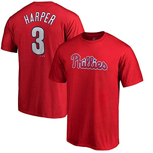(Outerstuff Bryce Harper Philadelphia Phillies #3 Red Youth Name & Number Jersey T-Shirt (Size X-Small 4/5))