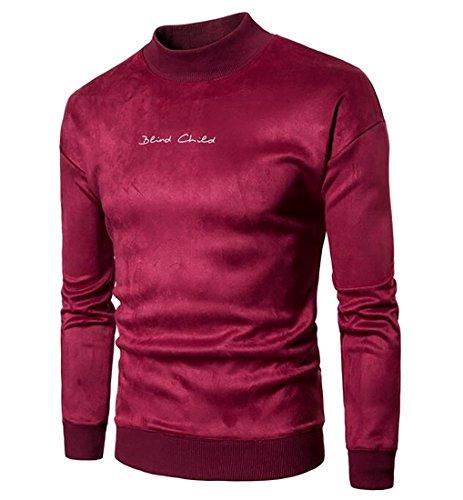 Warm Neck Pullover today Sweatshirts Long Casual Men Wine Mock UK Red Velvet Sleeve tzwzq