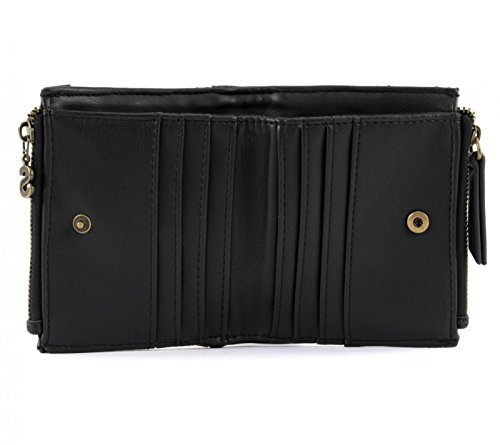 PORTE MONNAIE TWO ZIPS SILVERLY Negro