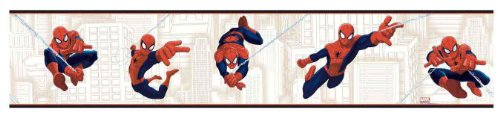York Wallcoverings ZB3259BD Ultimate Spiderman Border, Red/Indigo Blue/Tan/White (Ultimate Mural Wallpaper Book)