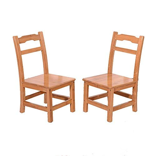 Bamboo Chair,Set of 2 Solid Wood Chairs High Back Seat Bath Footstool for Children Table Dinning Table Bathroom Shower Desk Living Room School Home Furniture Wood Color