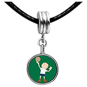 Chicforest Silver Plated Olympics boy serve volleyball cartoon Photo Topaz Crystal November Birthstone Flower dangle Charm Beads Fits Pandora Charm
