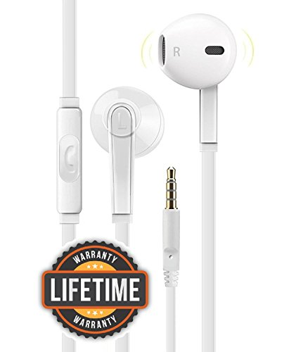 Certified Premium Headphone Universal 3.5MM In-Ear In Line Noise Isolating Headset Crystal Sound Earbuds with Volume Control & Mic for Apple iPhone iPod iPad Samsung Galaxy LG HTC