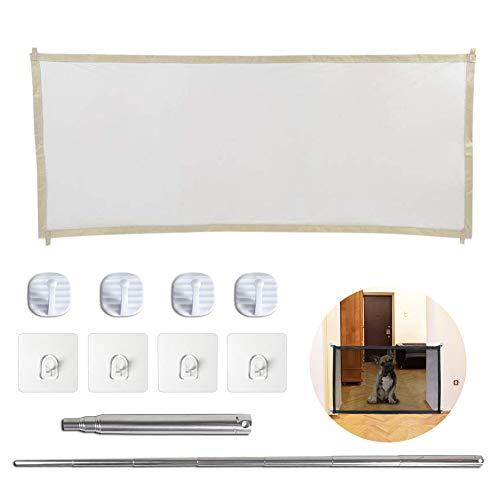 Magic Gate Portable Folding Safe Guard, Pet Cat Dog Fences, Pet Gate Mesh, Install Anywhere (Beige, Large)