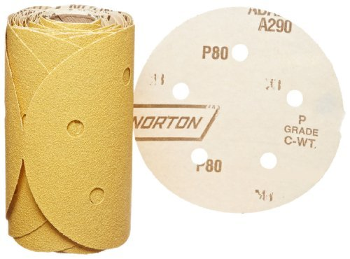 Norton 07660701642 Stick and Sand Abrasive Disc with Pressure-Sensitive Adhesive Attachment, Aluminum Oxide, 5 Holes, 5 Diameter, Grit P80 Coarse (Roll of 50) by Norton Abrasives - St. Gobain