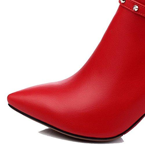 AgooLar Damen Weiches Material Spitz Zehe Rein Knöchel Hohe Hoher Absatz Stiefel Rot