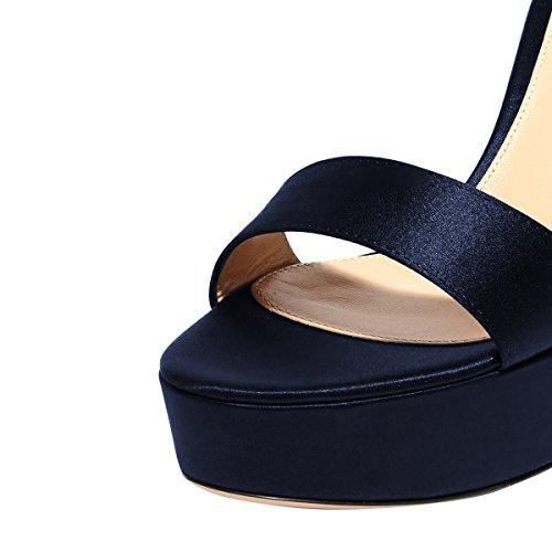 Zapatos De Tacón Alto De Mujer De Moda Fsj Chunky High Heels Sandalias Con Plataforma Abierta Tamaño 4-15 Us Navy Blue