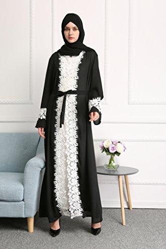 YI HENG MEI Women's Elegant Long Sleeve Muslim Maxi with White Lace Hem for Islamic Abaya,Black,L by YI HENG MEI (Image #2)