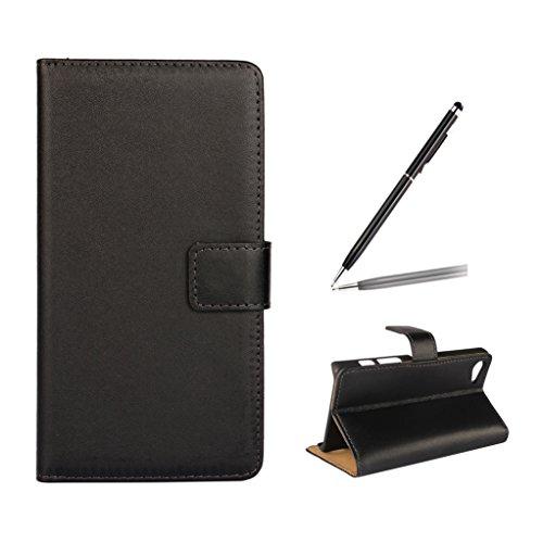 Trumpshop Smartphone Carcasa Funda Protección para Sony Xperia Z5 Premium + Blanco + Ultra Delgada Cuero Genuino Caja Protector con Función de Soporte Ranuras para Tarjetas Crédito Choque Absorción Negro
