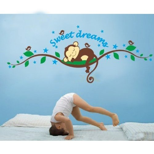 Dushang Sweet Dreams Monkeys and Tree Branch Birds Giant Baby Wall Sticker Decals Super for Boys and Girls Nursery Room Home Decor Decal Children's Room