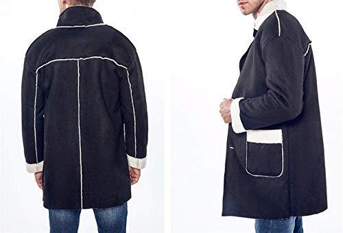 Vento Lunga Manica Uomo Risvolto Inverno Moda Giacca Addensato Monopetto A Coat Faux Cappotto Suede Schwarz Capispalla Lungo Da ZHSxq08