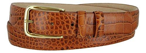 (Andrew Genuine Italian Calfskin Leather Dress Belt for Men(Alligator Tan, 38))