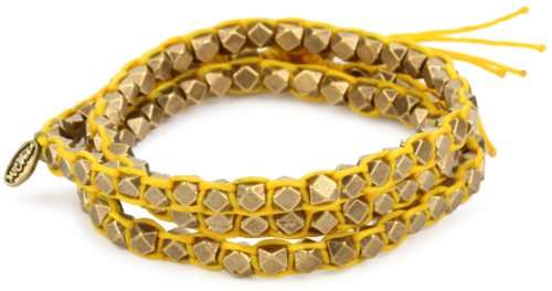 M. Cohen Handmade Designs Large Brass Beads on Yellow Waxed Cord Triple Wrap Bracelet by M.Cohen Handmade Designs