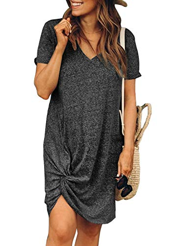 Actloe Womens Casual V Neck Short Sleeve Tshirt Dresses Side Knot Mini Dress