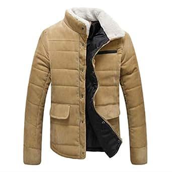 Againg Mens Wrap Solid Corduroy Winter Outdoor Overcoat